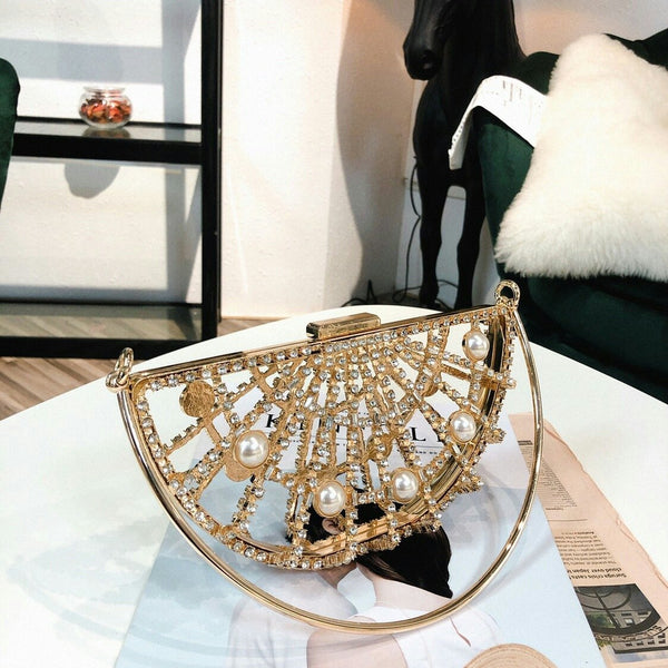 Metal Half Moon Diamante Bag