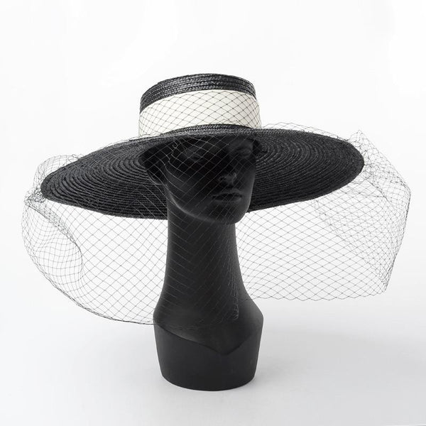 Black Straw Hat with Veil