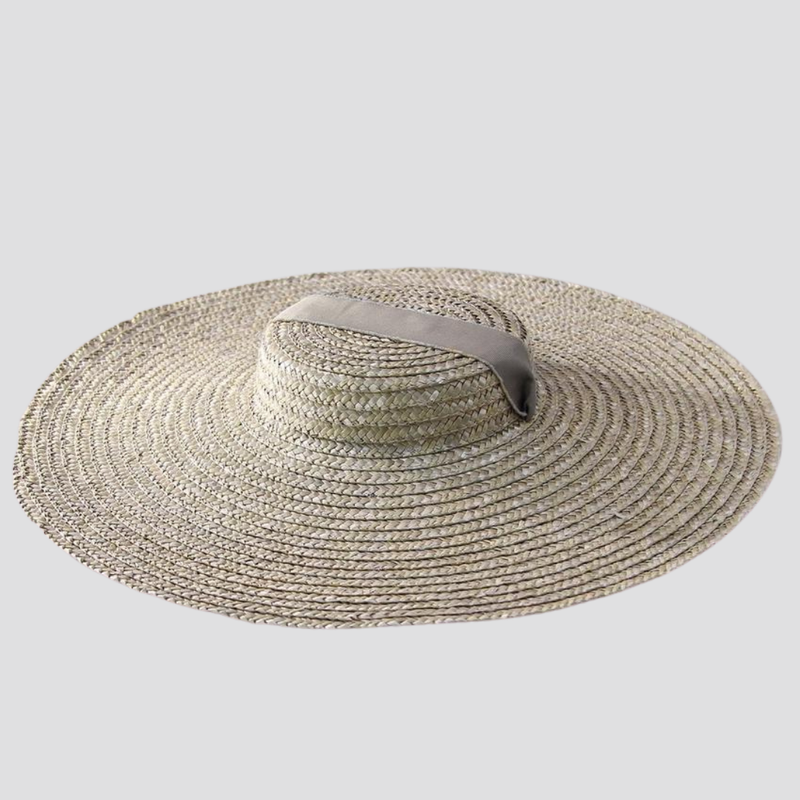Flat Top Straw Hat with Ribbon straw hat God's Gift London