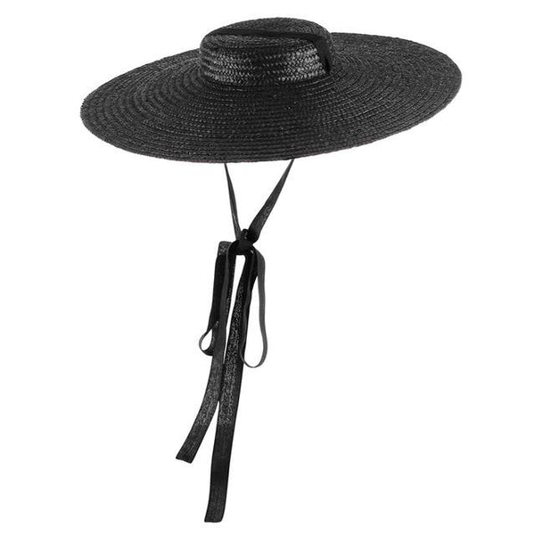 Flat Top Straw Hat with Ribbon straw hat God's Gift London Black