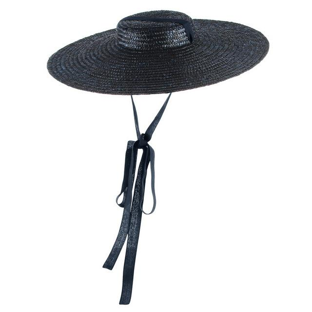 Flat Top Straw Hat with Ribbon