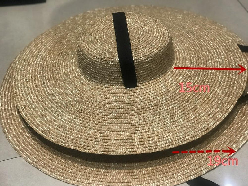 Flat Top Wide Brim Ribbon Hat - Black & Beige