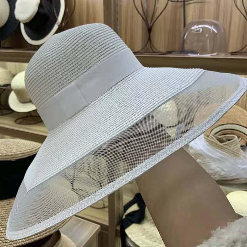 Mesh Rim Straw Dome Hat