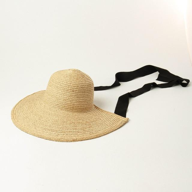 Straw Bonnet straw hat God's Gift London black ribbon