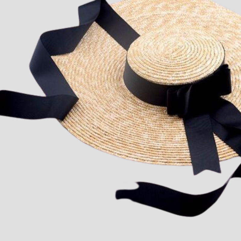 Wide Rim Satin Sash Straw Hat straw hat God's Gift London