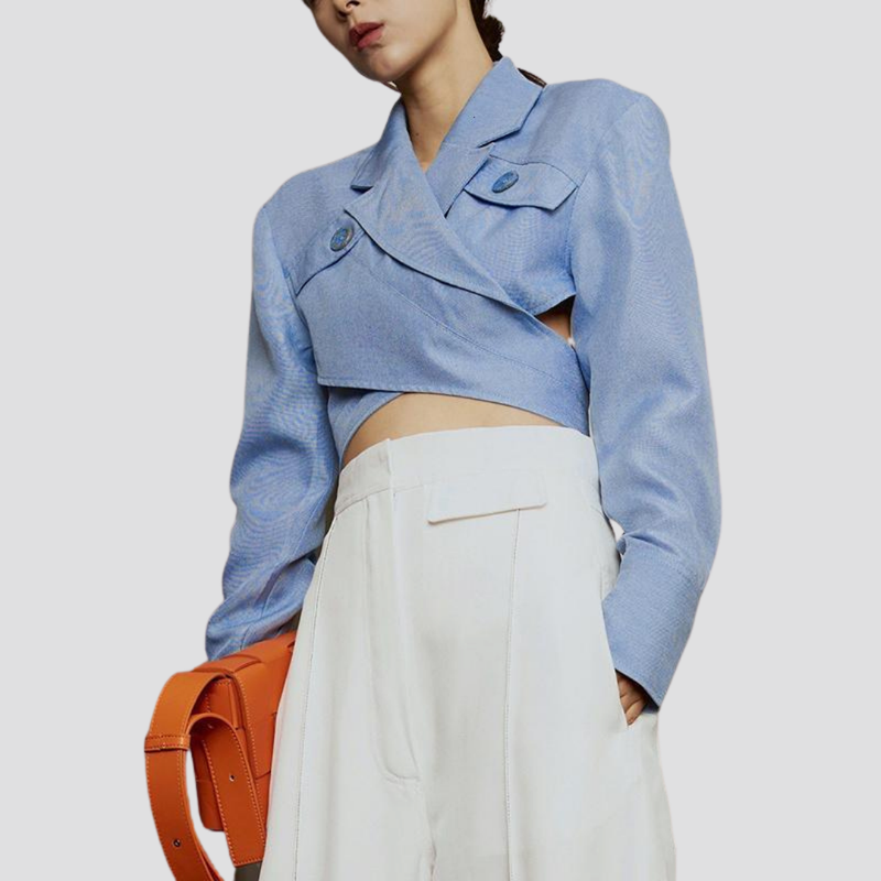 Asymmetrical Cross Front Top - Light Blue Top God's Gift London