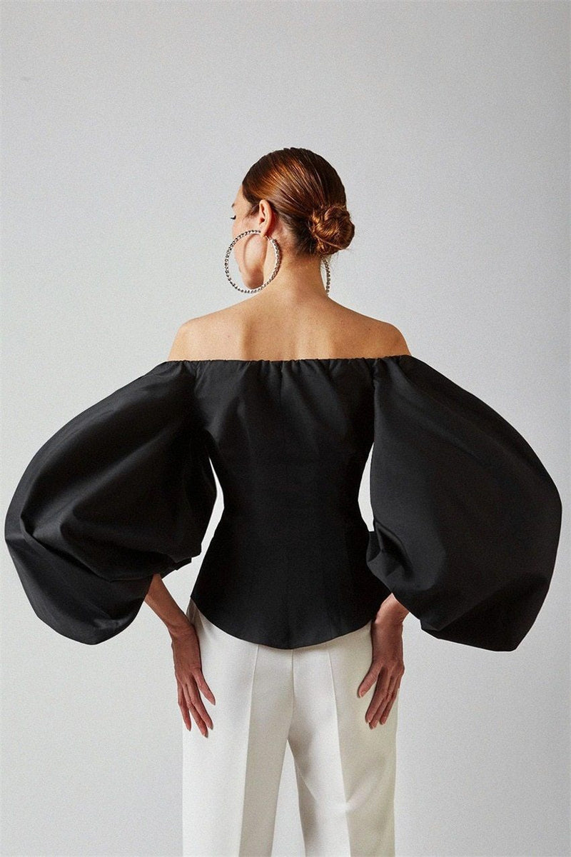 Off the Shoulder Ballon Sleeve Top Top God's Gift London