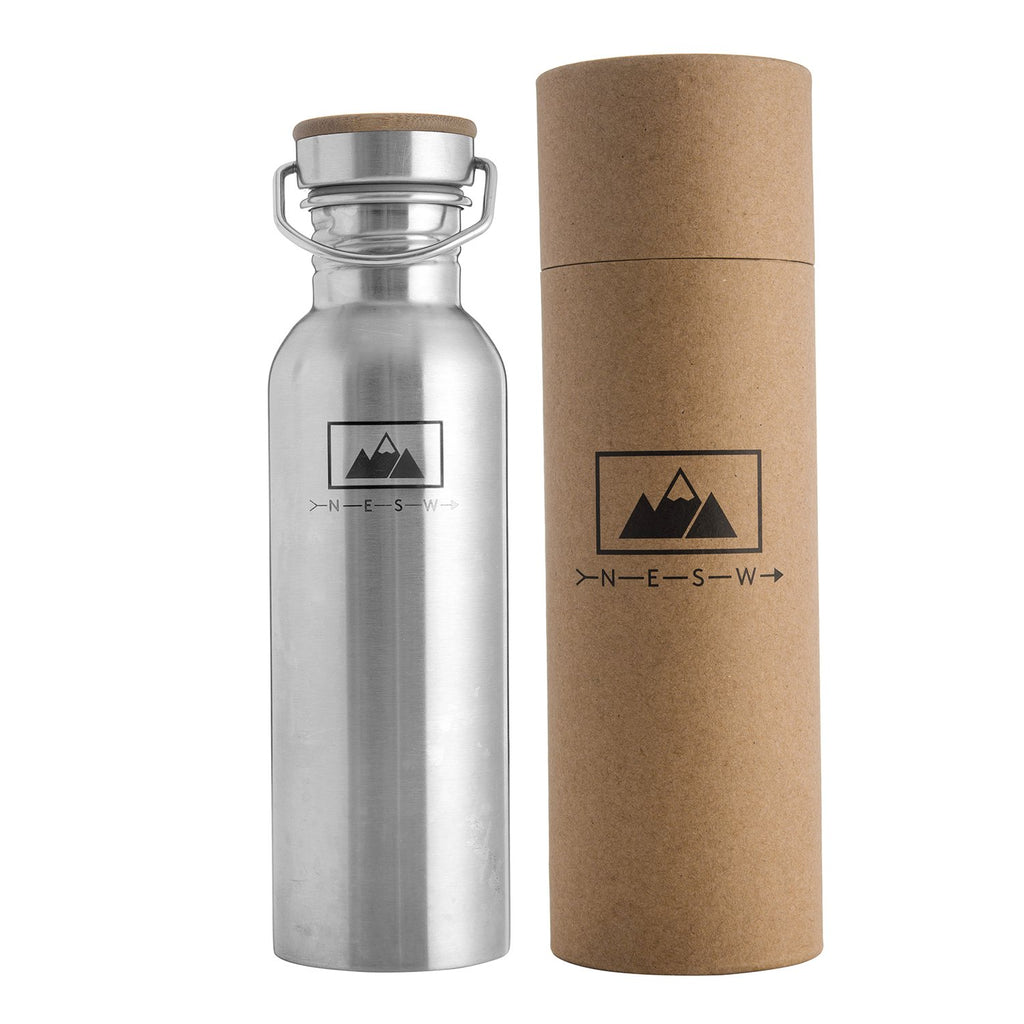 NESW stainless steel water bottle plastic free festival