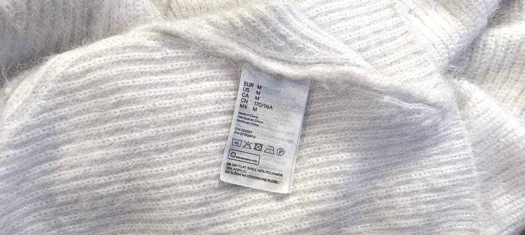 unsustainable clothing label laundry care