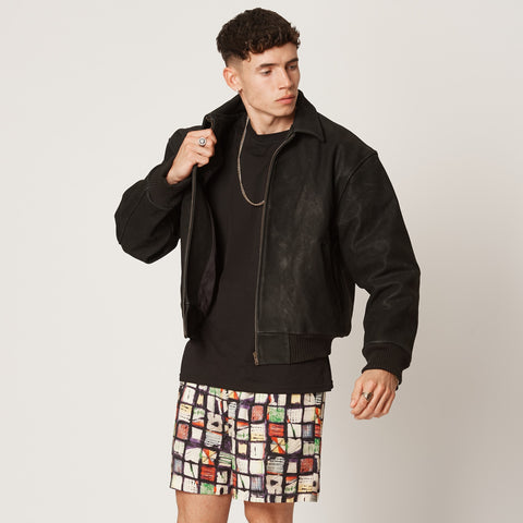 Mens sustainable leather offcuts upcycled jacket with bamboo lining