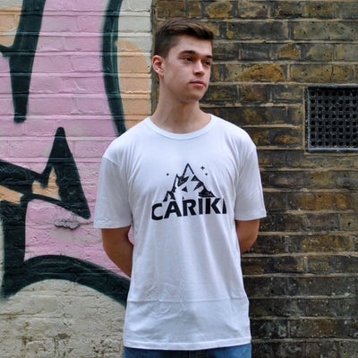 White Bamboo Men's T-shirt | Cariki Mountain - Cariki Bamboo Clothing