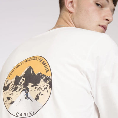 Men's Organic Long Sleeve White - Climber Fortune Favours The Brave