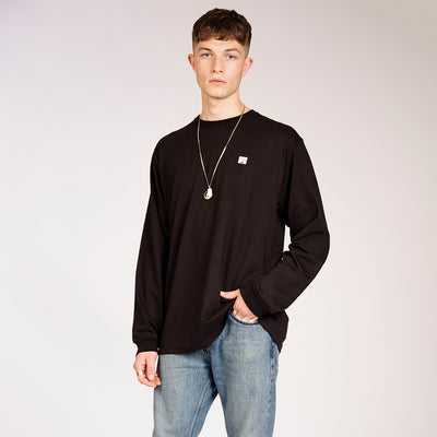 Men's Black Organic Cotton Long Sleeve Monochrome Sunset
