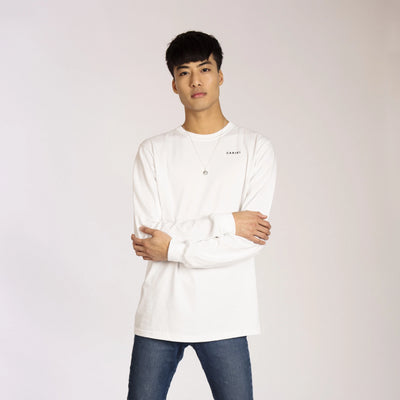 Men's Organic Cotton Long Sleeve White | Cariki Sunset