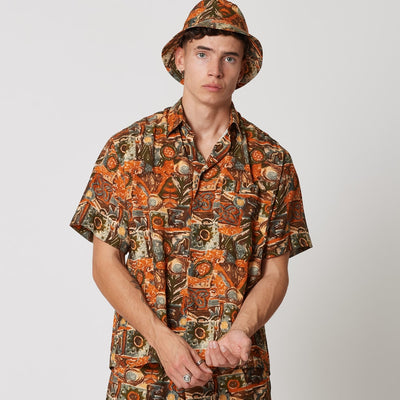 Mens Tencel Shirt Orange Patterns