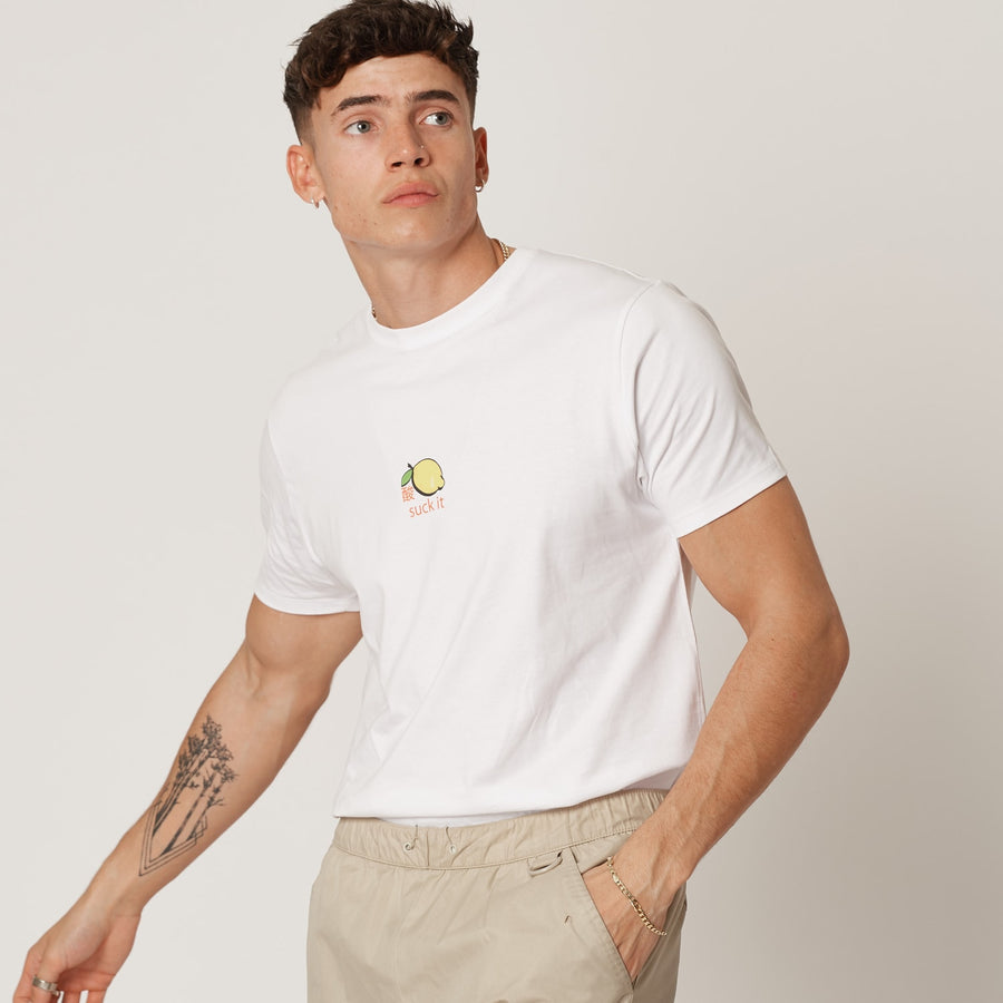 Mens White Organic Cotton Suck It Lemon T-shirt
