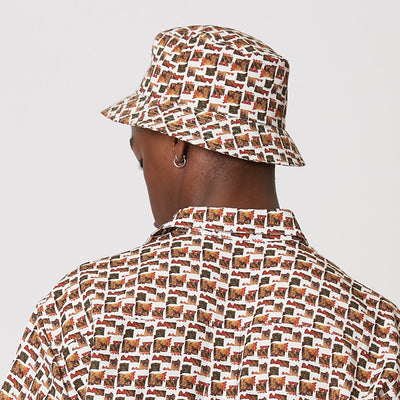 Mens Tencel Bucket Hat Red and White