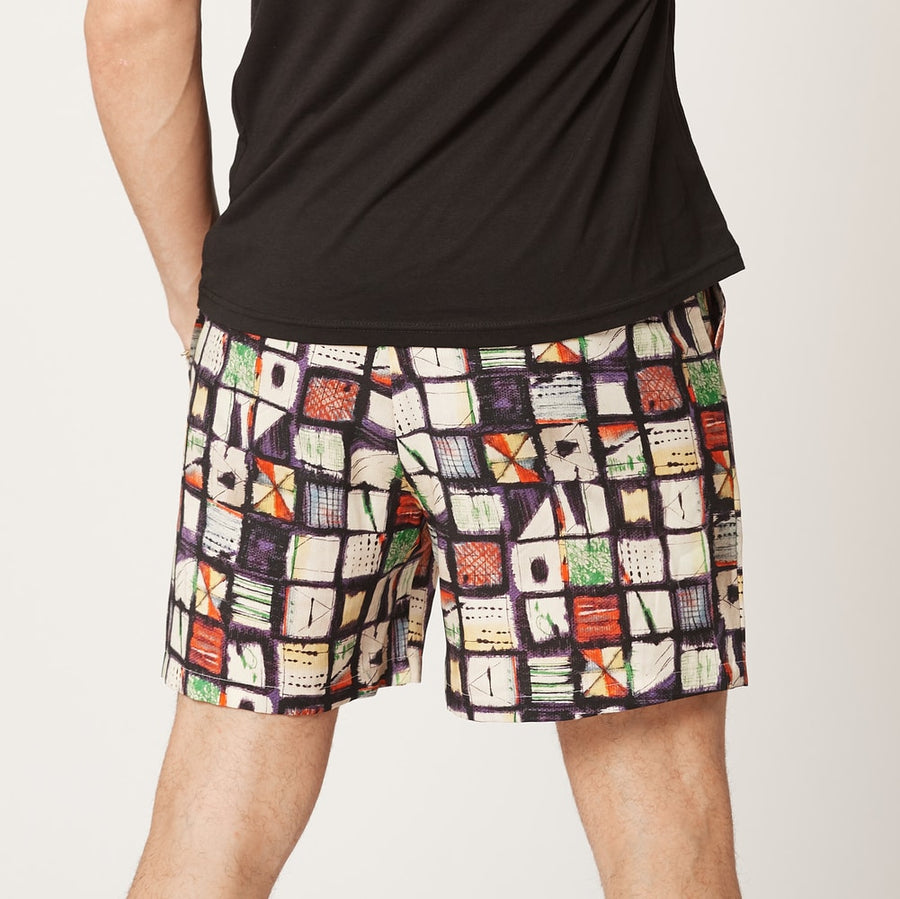 Mens Tencel Shorts Blue Squares