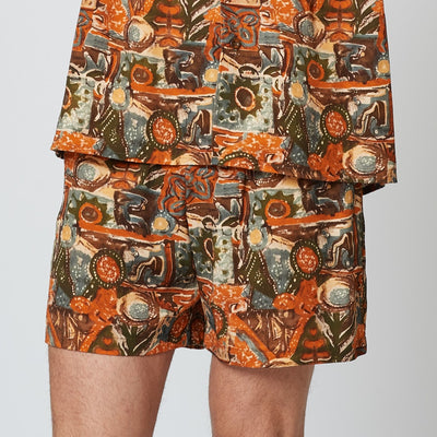 Mens Sustainable Tencel Orange Patterned Shorts