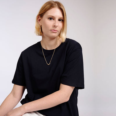 Plain Black Heavy Organic Cotton T-Shirt for Women
