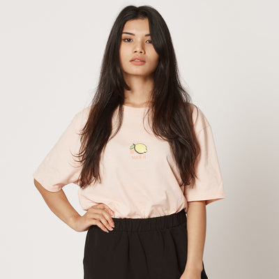 Womens Pink Lemon Suck It Organic Cotton T-Shirt