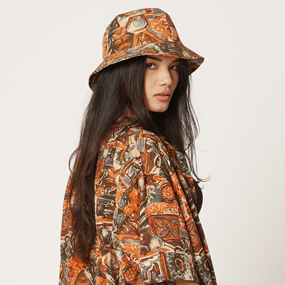 Womens Tencel Bucket Hat Orange Pattern
