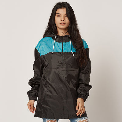 Upcycled Festival Ten Windbreaker Blue/Black Womens