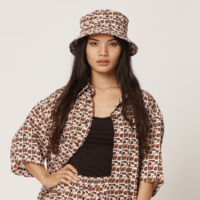 Womens Tencel Bucket Hat Red and White