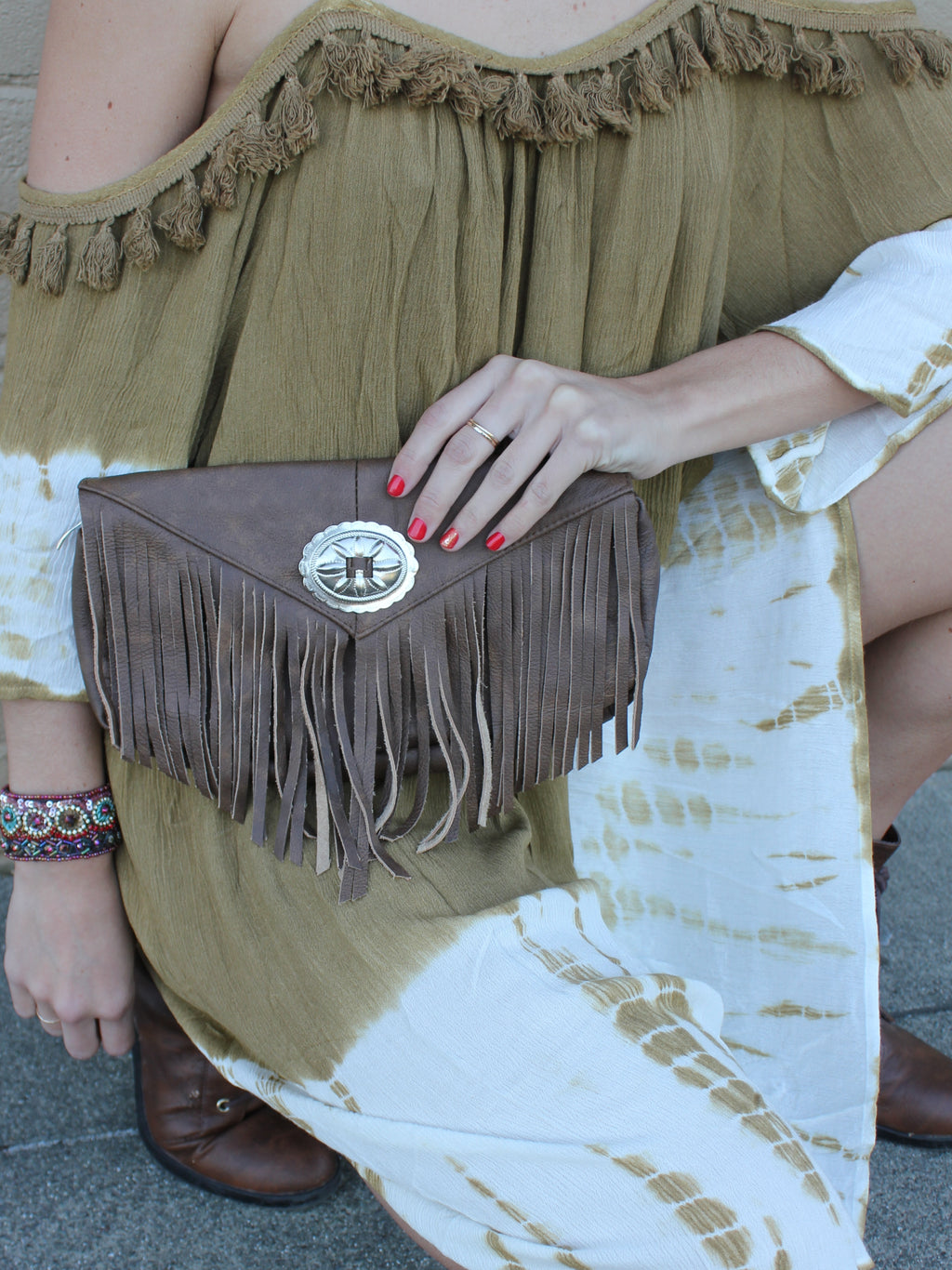Leather Fringe Clutch - Brown