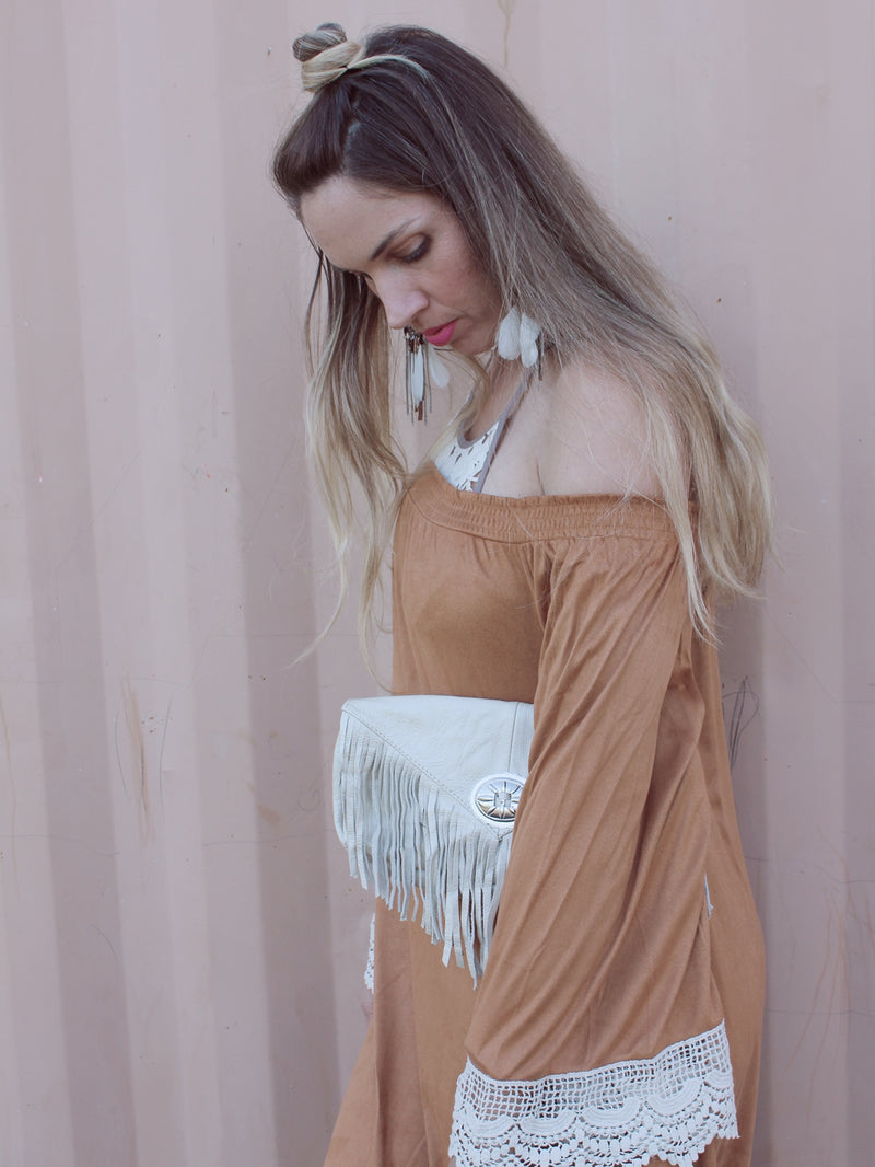 Leather Fringe Clutch - Ivory