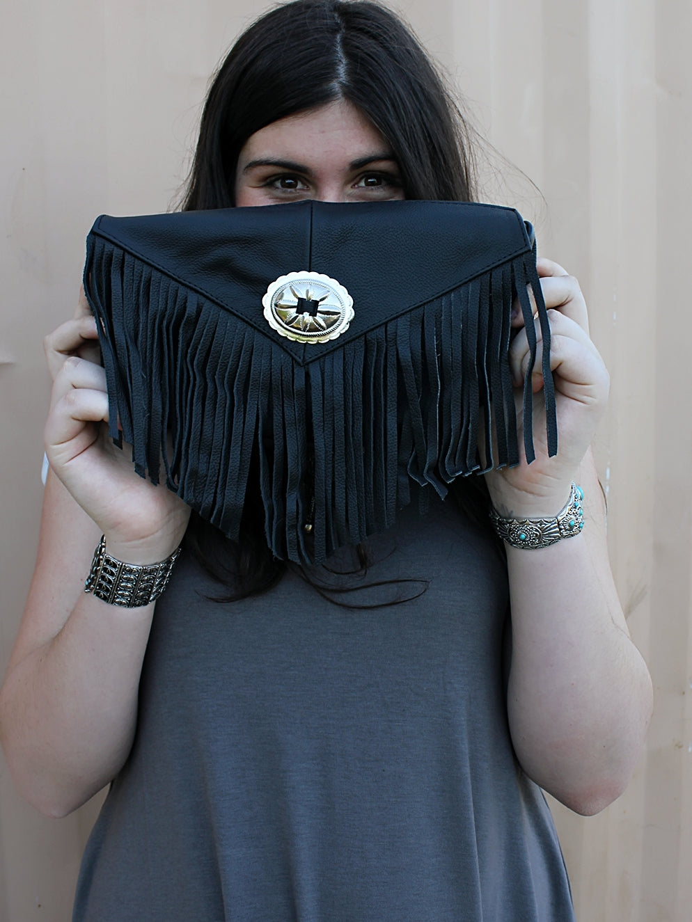 Leather Fringe Clutch - Black