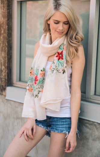 Floral Embroidered Scarf