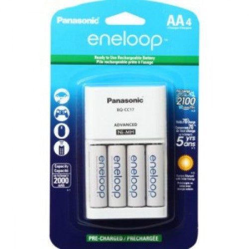 K-KJ17MCA4BA / BQ-CC17 Eneloop Panasonic Charger with 4 NiMH Batteries - bbmbattery.ca