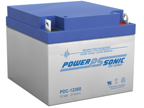 PDC-12260  - Powersonic Deep Cycle Battery, 12V/27.8AH Nut & Bolt terminals