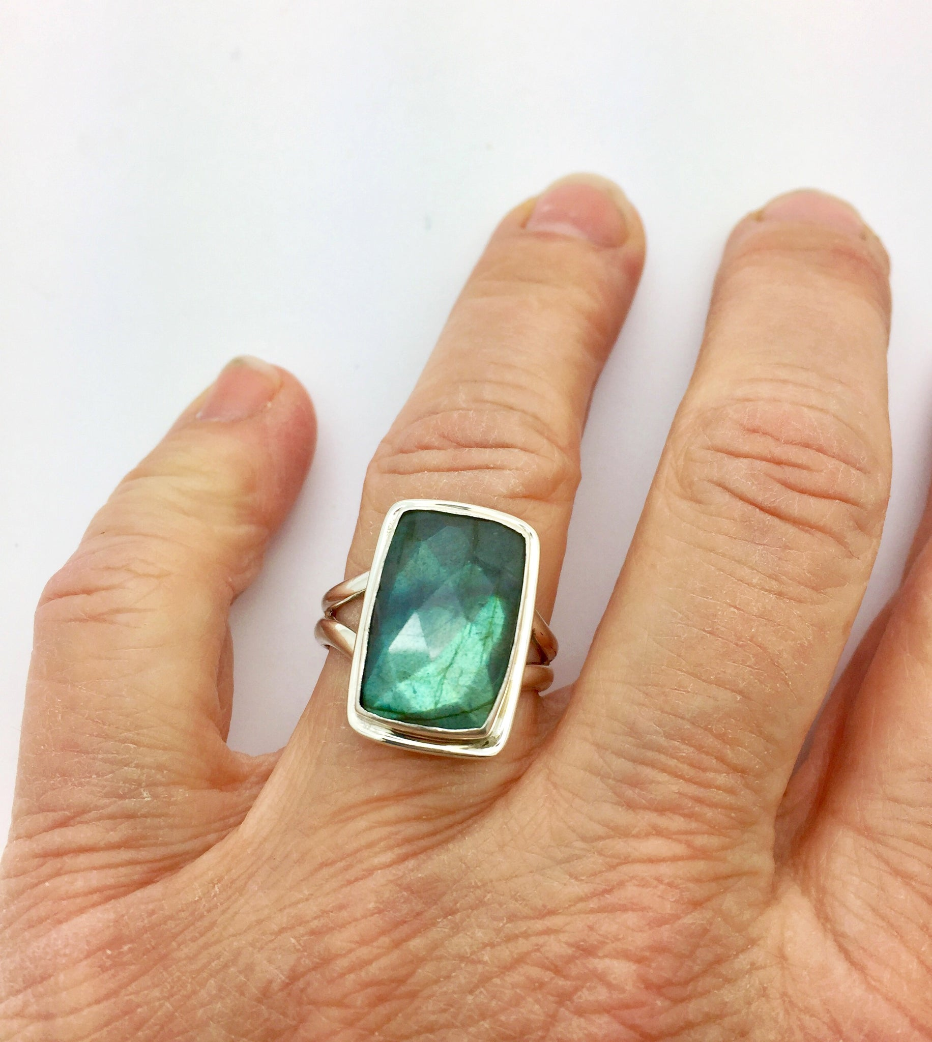 Labradorite Rectangle Ring