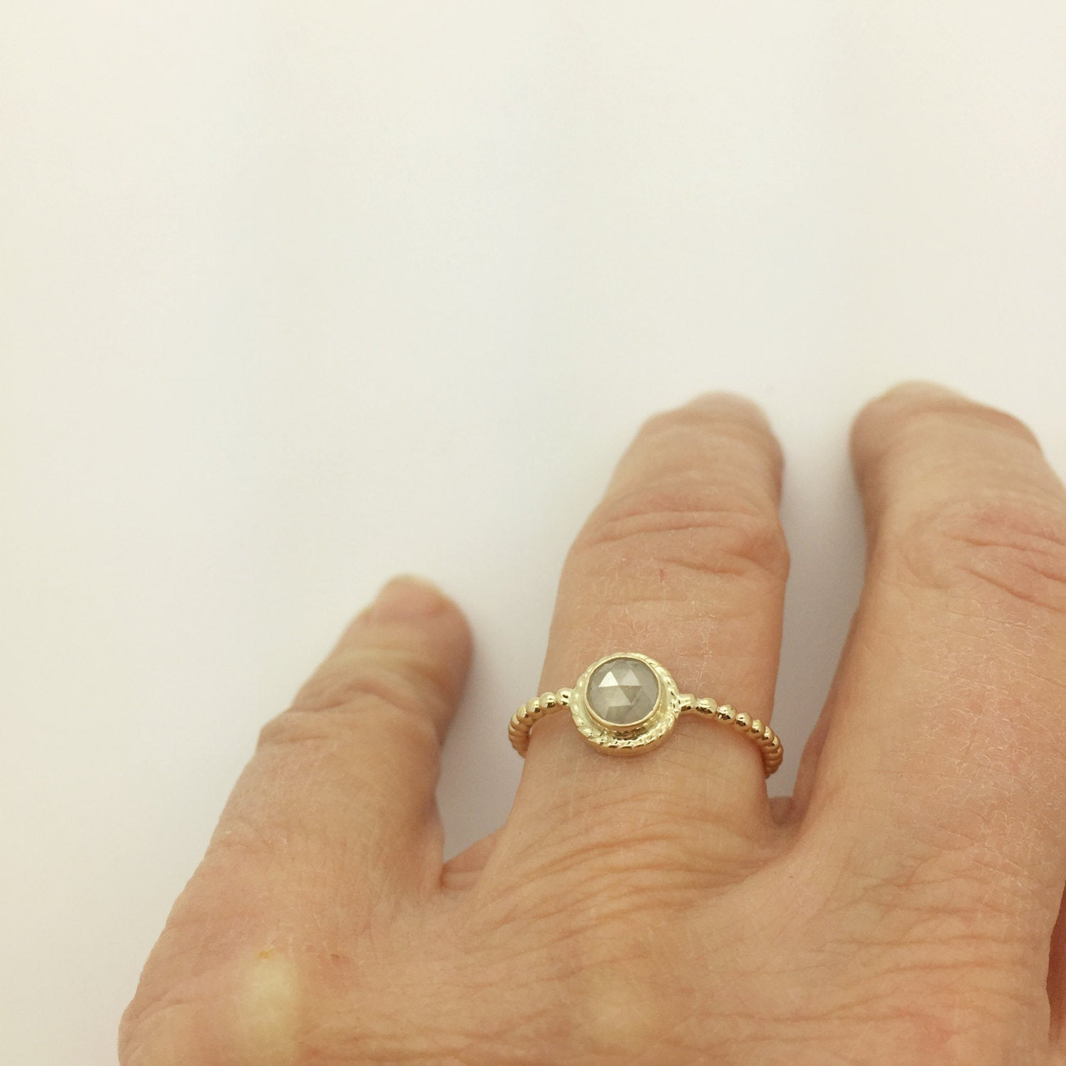Diamond and 14k ring, Gold ring with Rose Cut Diamond, 14k gold band with white diamond