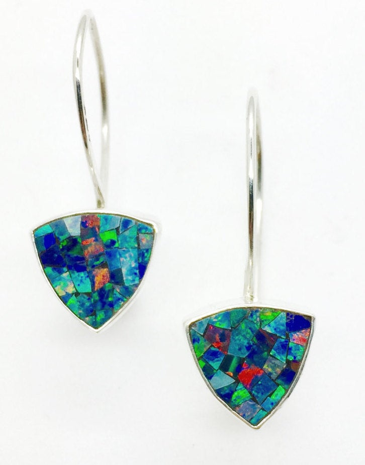 Opal Earrings in Sterling Silver, Mosaic Opal Silver Earrings French Wire Blue Opal Earring,October birthstone Jewelry,Womens gift, Mom Gift