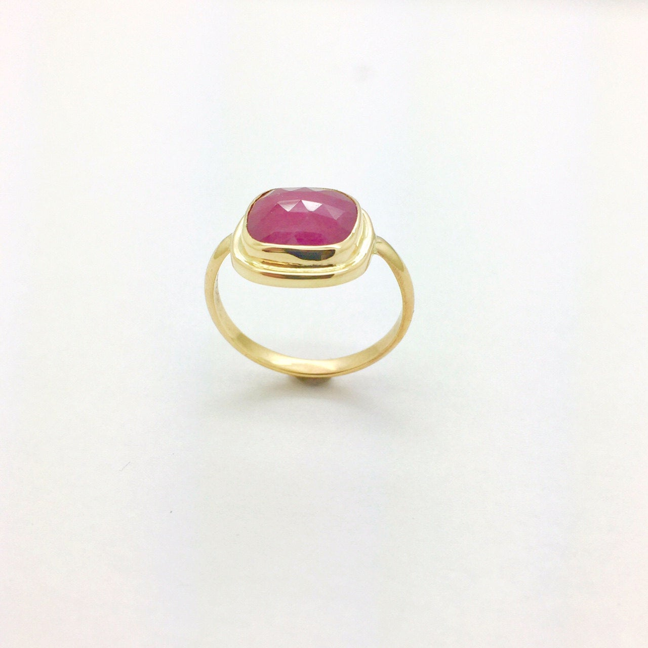 Ruby ring in 14k Gold, Rose cut  Ruby Statement Ring, Gold ring with Faceted Ruby