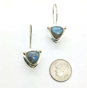 Labradorite Earrings, Labradorite Earrings with 14k Details, Labradorite Silver Earrings