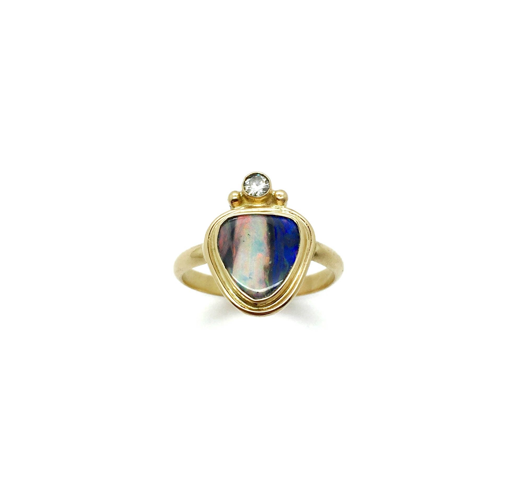 Opal Ring, Australian Opal and Diamond Ring, Gold and Opal Ring
