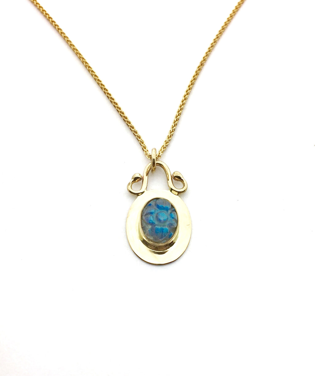 Gold Labradorite Pendant, 14k Yellow Gold with Carved Labradorite Necklace, Flower pendant in gold