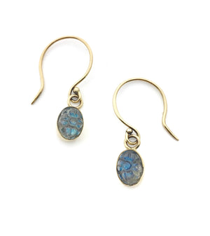 14K Earrings with Labradorite, Carved Labradorite Gold Earrings, Labradorite Earrings