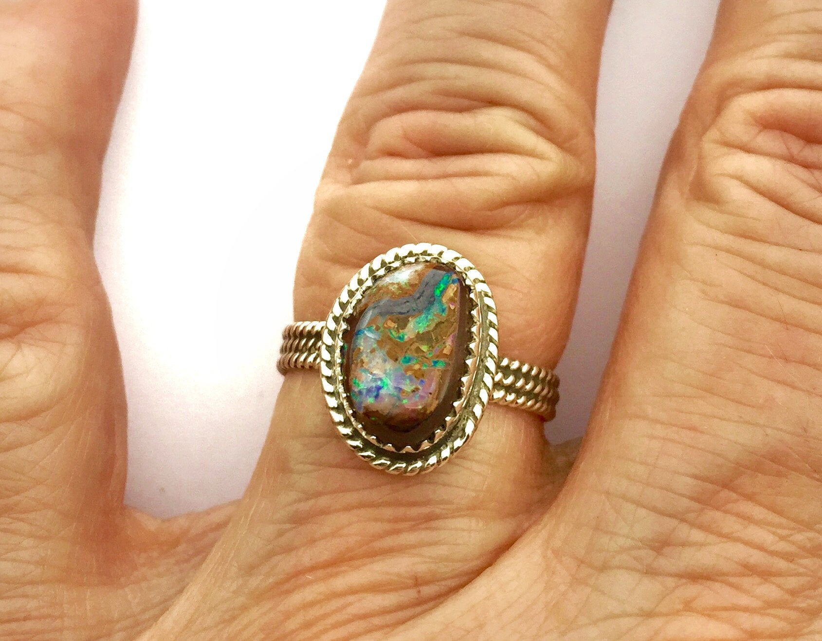 Australian Opal Ring, Opal Statement Ring, Boho Ring, Opal and Sterling Ring, Boulder Opal Ring, October Birthday Gift, Womens Ring
