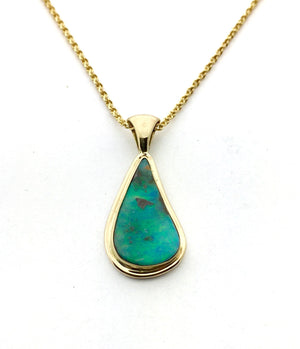 Opal and 14k Gold Pendant, Australian Opal Necklace, Gold Solid Opal Pendant, OOAK opal necklace