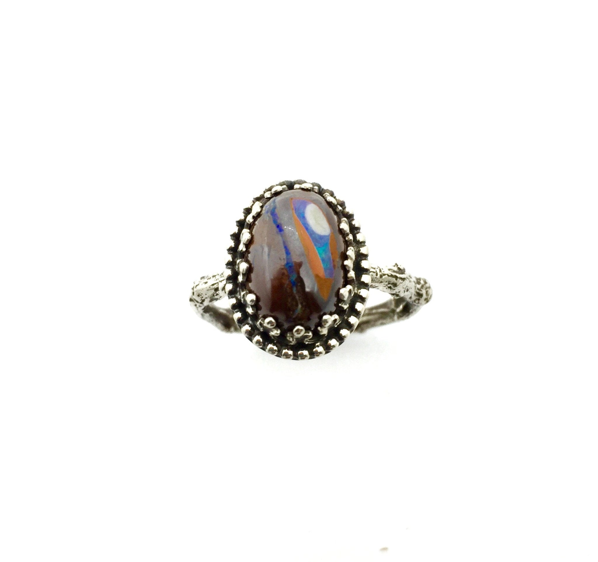 Opal Ring, Koroit Opal Ring, Opal and Sterling Ring, OOAK Opal Ring, Australian Opal Ring, Opal Statement Ring