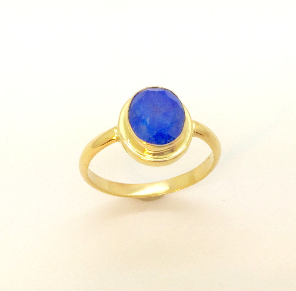 14K Gold Ring Lapis  Faceted Natural Blue Lapis Handmade Ring