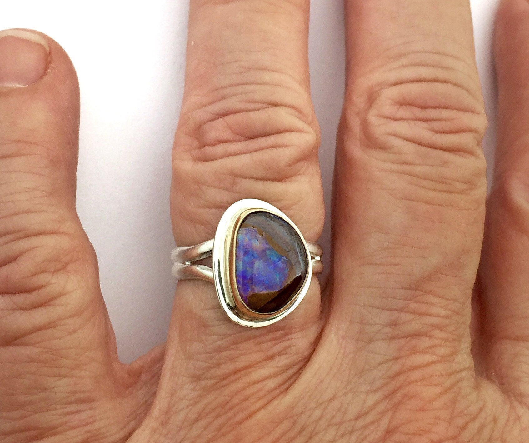 Koroit Opal Ring, Australian Boulder Opal in 14k and sterling silver, Womens Opal Ring, October Birthday Gift, Purple Stone Ring, Boho ring