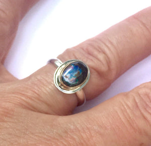Koroit Opal Ring, Boulder Opal set in 14k with sterling band, Australian Opal Ring, Women's Ring, October birthday Gift, Moms gift ring