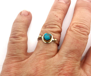 American Turquoise Ring With 14k Details
