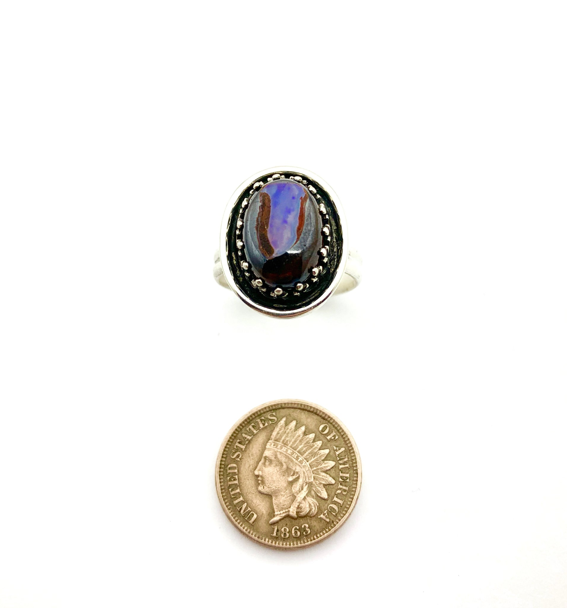 Australian Opal Ring, Opal Statement Ring in Sterling Silver